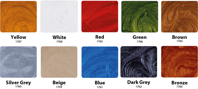 metallic epoxy colour chart