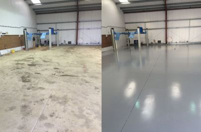Mid Grey Garage Floor Paint - Before & After