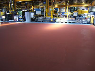 Coloured concrete topping in red